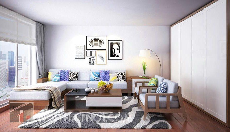Bàn ghế gỗ phòng khách hiện đại