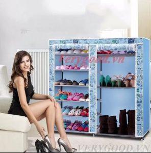 Tủ vải đựng giày dép 9 ngăn họa tiết là vật dụng tiện ích, nhỏ gọn