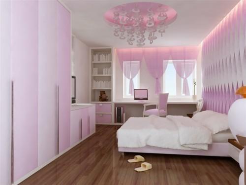 Phòng ngủ với sơn màu hồng nhạt