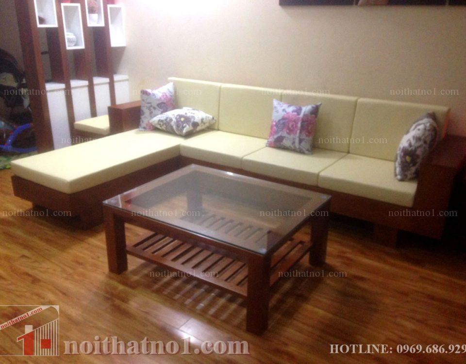 Mẫu bàn ghế gỗ chữ L đẹp hiện đại