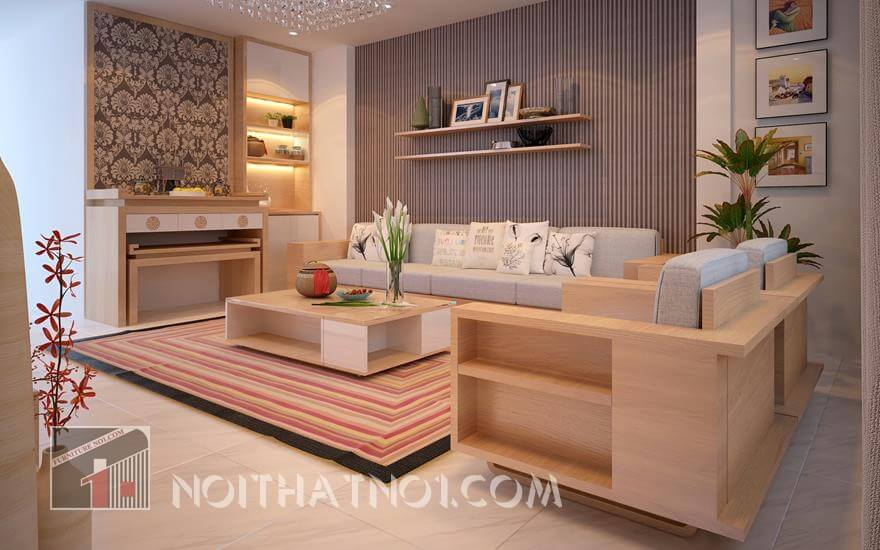 Mẫu bàn ghế phòng khách chung cư gỗ sồi đẹp